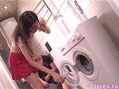 Deep blowjob in the laundry
