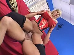 Mature blonde beauty Misty Knight  takes a hot load on her perfect tits after sex