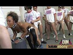Ebony gets fucked in all holes by a group of white dudes 2