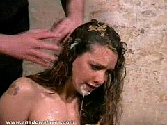 Filthy trash humiliation of messy degraded slaveslut Emma Louise in dirty food