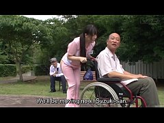 HD Subtitled bizarre Japanese half naked caregiver outdoors