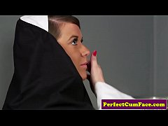 Celibate nun facialized after sinful blowjob