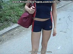 Sporty girl sucks cock and fucks outdoors