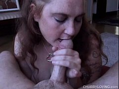 Naughty chubby honey loves to give a super sexy sloppy blowjob