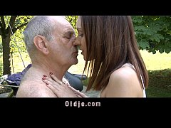 Horny teeny rides a 70 years old man