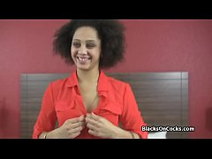Lovely ebony craves for white dicking