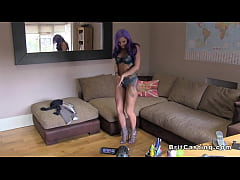 Purple haired alt babe anal fucked at casting