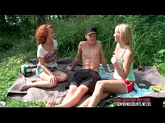 clubseventeen 2 girls 1 guy fucking outdoor