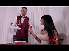 Hubby shares hot busty wife Valentina Ricci with waiter on Valentine's Day GP491