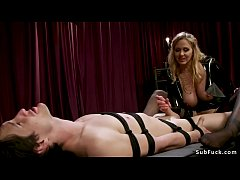 hot blonde big tits dominatrix julia ann in latex fetish lingerie anal fucks slave