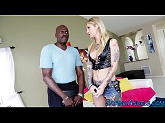 Tattooed blonde rides bbc