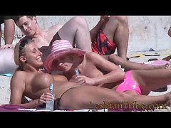 HD teens lesbians public kissing and massage on the beach