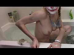 cute skinny blonde takes bath