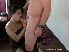 Skinny Asian babe sneaks away from her man to fuck an old fling in a hotel room