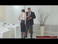 Antonia Sainz sucking dick in the office
