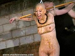 Bizarre asian humiliation of Kumimonster in dungeon bondage and messy feather an