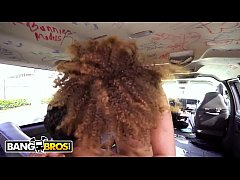 BANGBROS - Young Ebony Babe With Small Tits And Afro, Payton Banks, Rides The Bang Bus