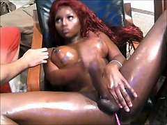 Stunning Black Shemale With Big Boobs Masturbates