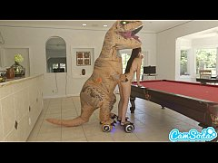 teen latina step sister chased by lesbian loving TREX on a hoverboard then fucke