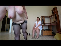 A lesbian in medical gloves makes a fisting to the patient, a mature blonde in stockings shakes a big butt and gets a stormy orgasm.