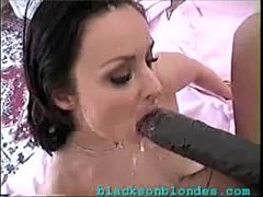 Super hot tight brunette fucked by 2 blacks - name?