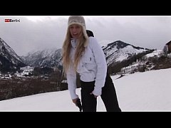 Eroberlin russian Anna Safina sexy ski pussy open public outdoor blond long hair