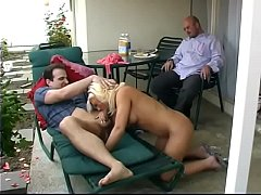 Randy dude and hot blonde lick each other in the 69 position outdoors