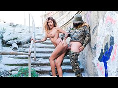 CHICAS LOCA - Curvy Latina bangs and blows soldier in public