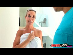 Huge boobs stepmom Brandi Love fucked with teen couple