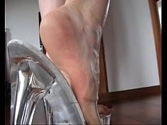 Slutty blond #039;s shoejob with her tran ...