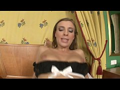 French maid Morgan Moon gets banged from behind while laying on ned