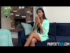 PropertySex - Sexy masseuse with amazing natural tits fucks landlord after working his groin area
