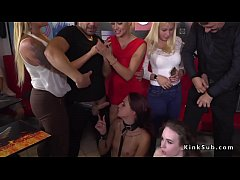 two hot brunette euro slaves angel rush and lyen parker disgraced in public