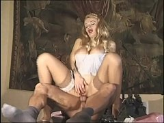 Hot blonde in sexy lingerie has a cock in her ass
