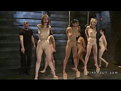Bdsm contest for different slaves in dungeon