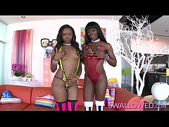 SWALLOWED Ana Foxxx and Chanell Heart blowing f...