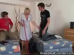 Old cleaning woman takes two hard cocks, Free Xxx Anal Fuck Videos!