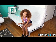 PropertySex - Tiny black tenant fucks some big landlord dick