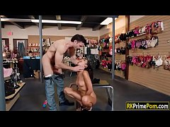 Brunette slut Vienna fucked in sex shop