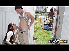 HD BANGBROS - Sophia Steele Gives Peter Green A Public Blowjob While Bum Walks On By