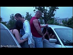A girl a undressing in a car on the way to the public sex gang bang dogging orgy