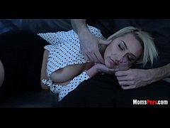 Caring son gets head from gorgeous blonde mommy