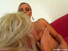 Ass Traffic Blonde lesbo scene followed by double dick penetration