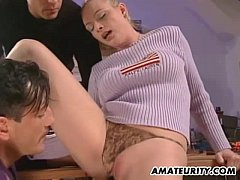Busty amateur girlfriend anal threesome with facial shots