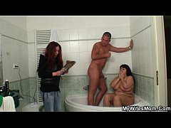 Chubby mother inlaw takes it in the bathroom