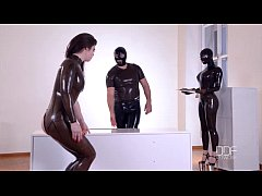 Latex Couple dominate their submissive till she cums like a geyser! Pt. 1