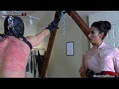 Hooded femdom slave is whipped and stomped by Tangent