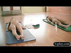 Sexy babes and busty yoga teacher does yoga while naked