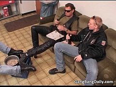 Vicious gang bang with brunette milf