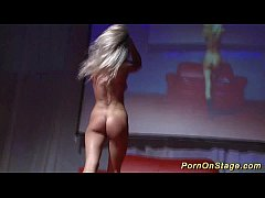 hot babe striptease on public stage